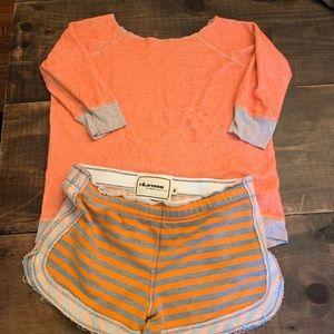 Shorts/sweatshirt set striped neon terry cloth